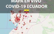 En vivo el mapa de Casos de COVID-19 por ciudades del Ecuador