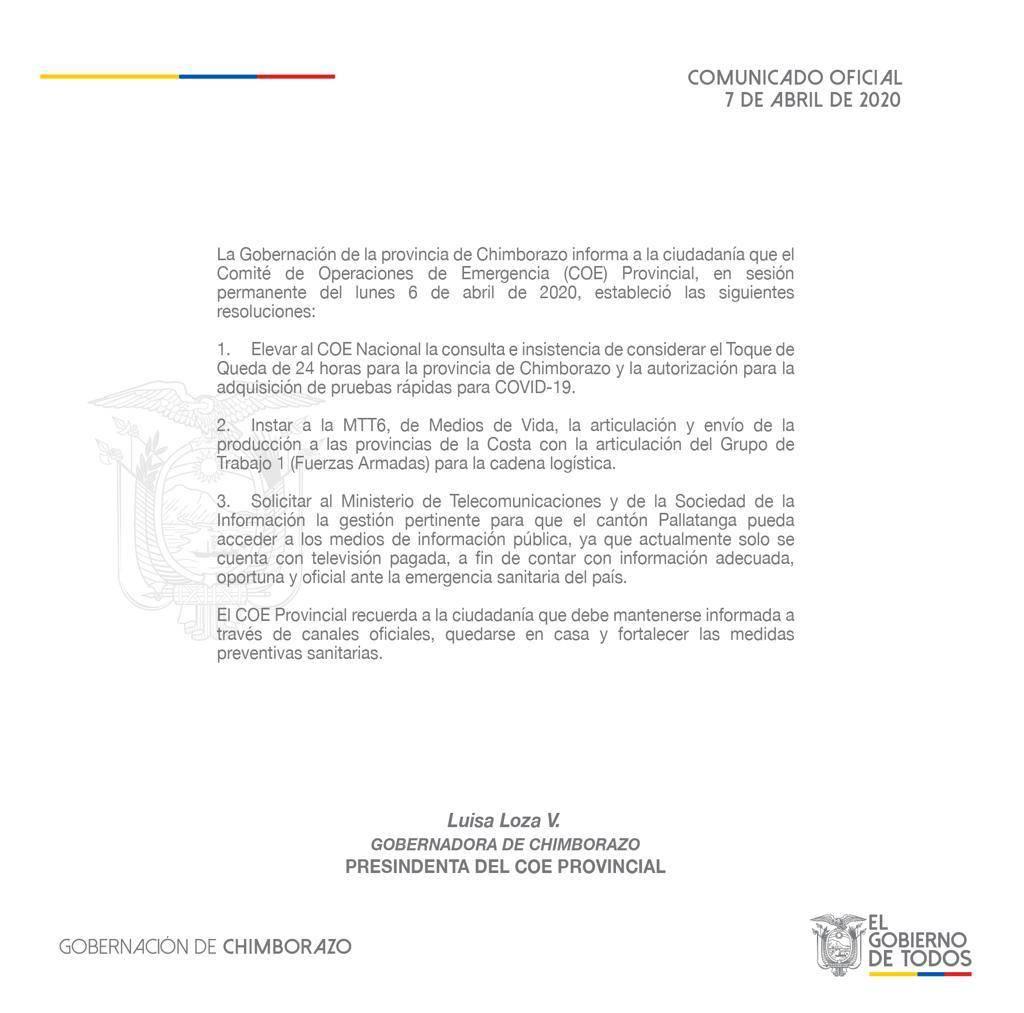TOQUE DE QUEDA CHIMBORAZO