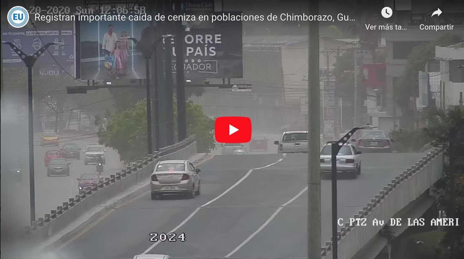 VIDEO: Caída de ceniza en poblaciones de Chimborazo, Guayas y Santa Elena