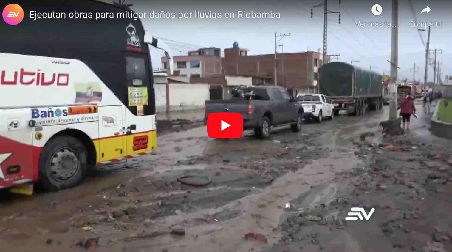 VIDEO: Ejecutan obras para mitigar daños por lluvias en Riobamba